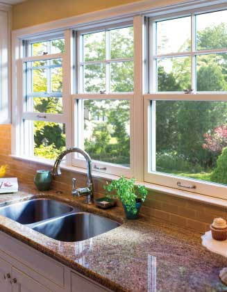 closeup of kitchen sink and windows