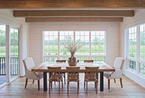 modern dining room with large windows