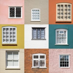 collage of windows on brightly colored homes